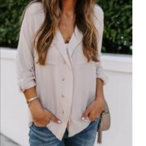 Button up shimmer top